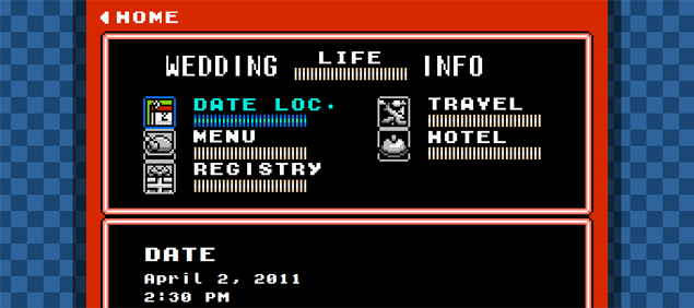 the wedding info page and Dragon Warrior Dragon Quest for the RSVP
